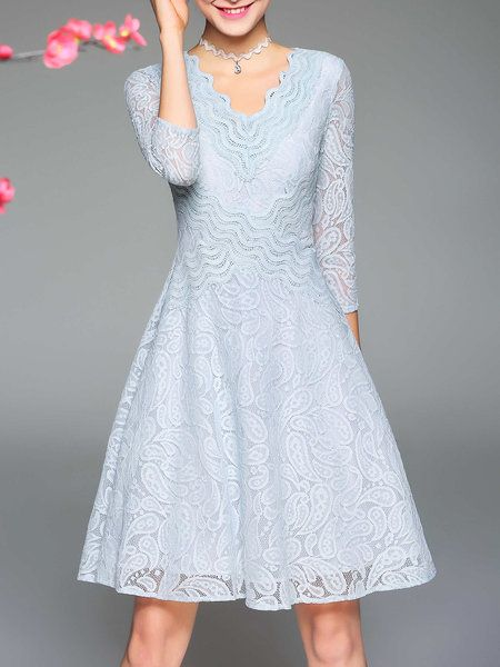 Shop Midi Dresses - Light Blue V Neck Guipure Lace 3/4 Sleeve Midi Dress online. Discover unique designers fashion at StyleWe.com.