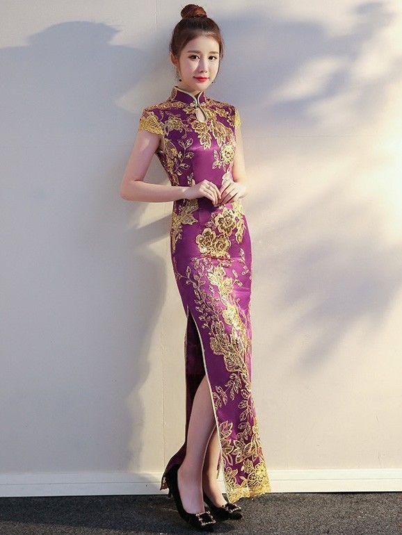 Purple Sequined Long Qipao / Cheongsam Evening Dress