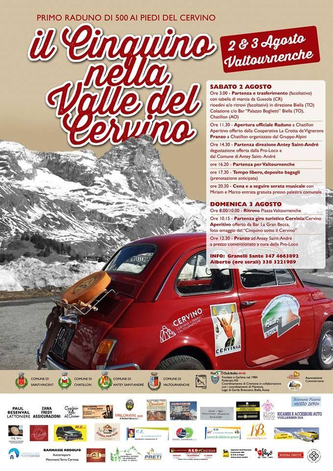 "locandina 1° raduno "" del Cinquino nella Valle del Cervino ""  #cervino #breuilcervinia #valtournenche #chatillon #anteysaintandre #saintvincent #aostavalley #enjoycervino #summeradrenaline #fiat500 #fiat500owners #fontina #dreamcar #finally #happy #loveit #car #minicar #italiancars #fiat"