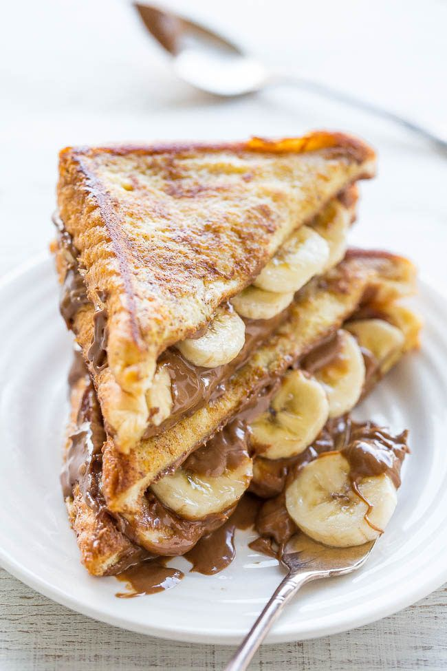 Chocolate Peanut Butter Banana Stuffed French Toast - http://mamasitta.com/chocolate-peanut-butter-banana-stuffed-french-toast/