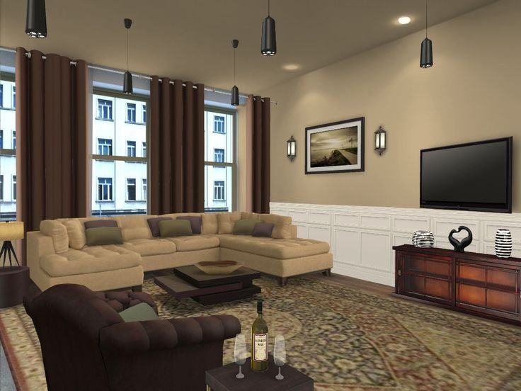 Living Room Color Ideas Furniture Stylish Brown Scheme Design Idea For With Light Sofa Green Cuhsions Dark