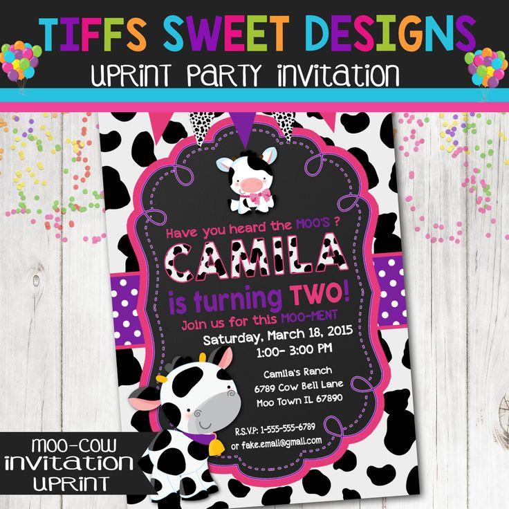 Farm Moo Cow Birthday Party Invitation - Girl Cow Print Pink and Purple by TiffsSweetDesigns on Etsy https://www.etsy.com/listing/241590427/farm-moo-cow-birthday-party-invitation