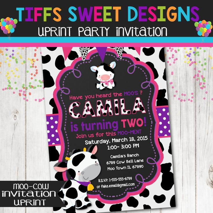 1000 ideas about Cow Birthday Parties – Cow Party Invitations