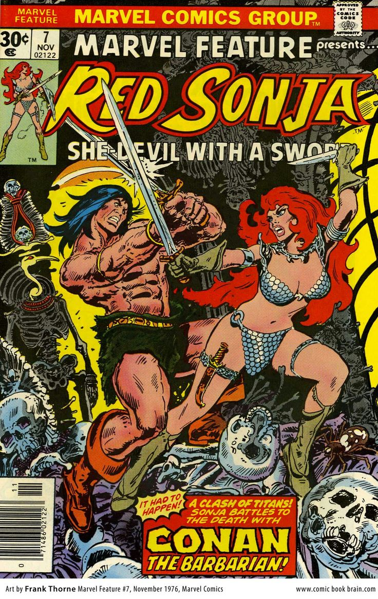 """Marvel Feature vol.2 # 7 - Red Sonja, """"The Battle of the Barbarians!"""" (November, 1976). Cover by Frank Thorne."""