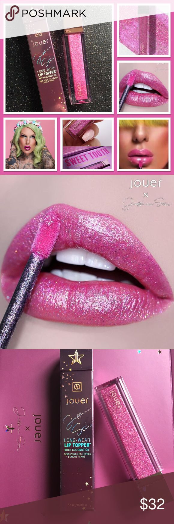 Jeffree Star Lip Topper Sweet Tooth New in box • Free Shipping • Limited Edition  Sweet Tooth Lip Topper tastes like cupcakes! Pink with sparkles. Gorgeous!! Sephora Makeup Lip Balm & Gloss