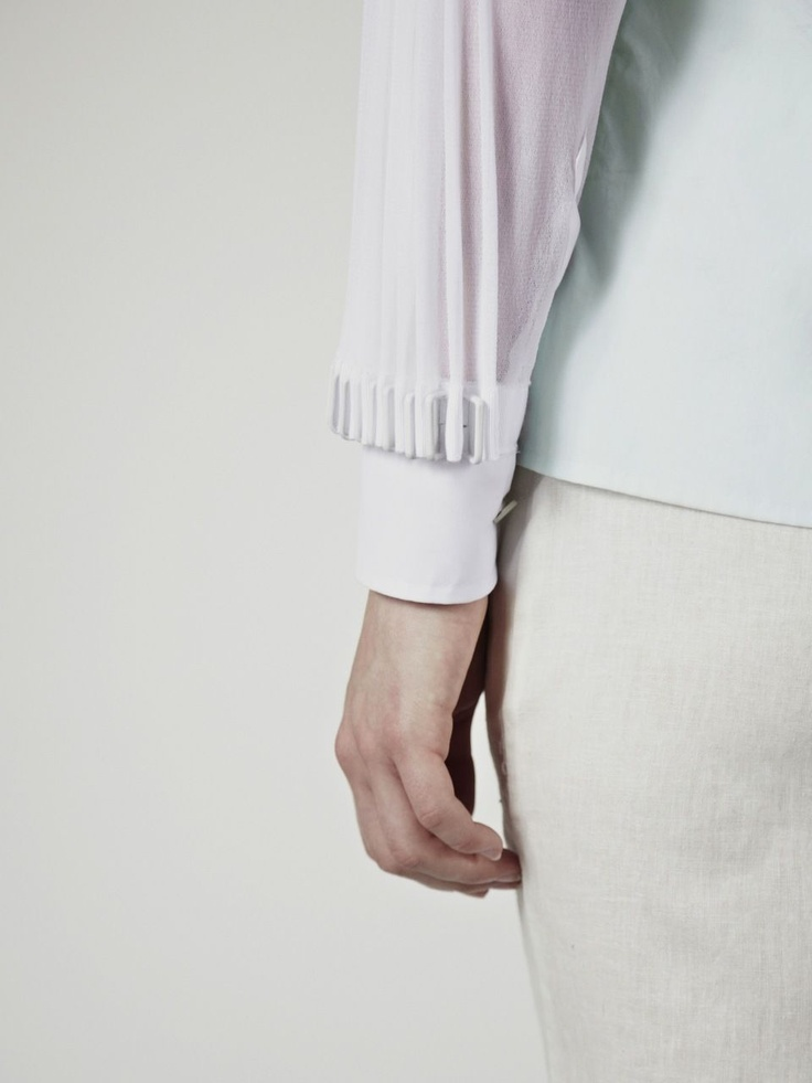 White Shirt with pleated sleeves - close up fashion design detail; sewing; fabric manipulation // Palmer-Harding