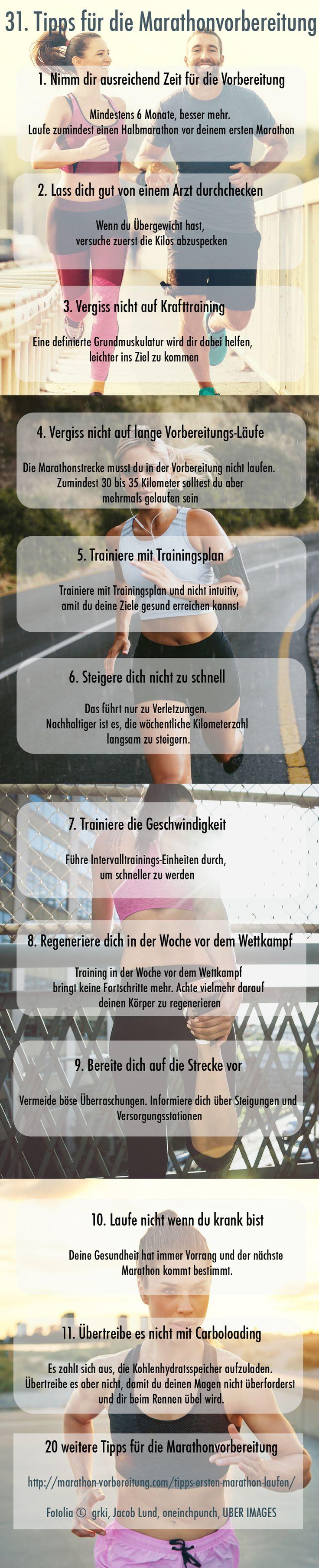 Wie läufst du deinen ersten Marathon? Mit unseren 31 Tipps für die Marathonvorbereitung kommst du sicher hinter die Ziellinie http://marathon-vorbereitung.com/tipps-ersten-marathon-laufen/
