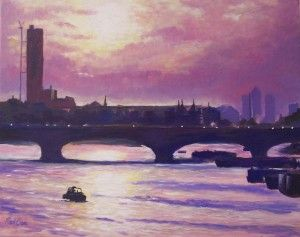 London-Bridge-sunrise-towards-Docklands by Rod Bere
