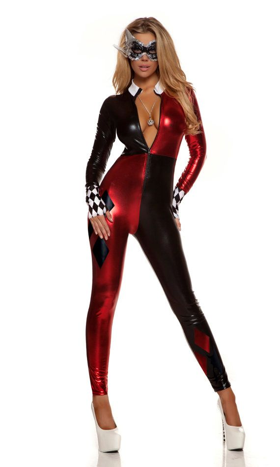 Sexy Batman Comic book Harley Quinn costume includes checkered metallic cat suit with matching mask and gloves