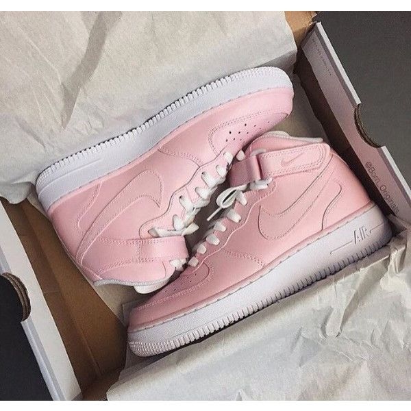 Blush Pink Nike Air force1 Mid Nike Air Force One Mid Blush Pink Pink... ($190) ❤ liked on Polyvore featuring grey, shoes, sneakers & athletic shoes, tie sneakers and unisex adult shoes