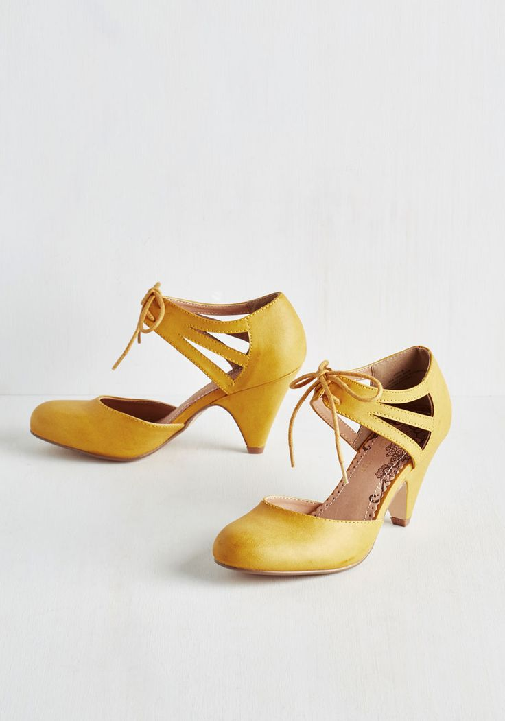 Shimmy My Way Heel in Goldenrod by Restricted - Yellow, Solid, Cutout, Wedding, Party, Work, Daytime Party, Vintage Inspired, 20s, Better, Lace Up, Variation, Mid