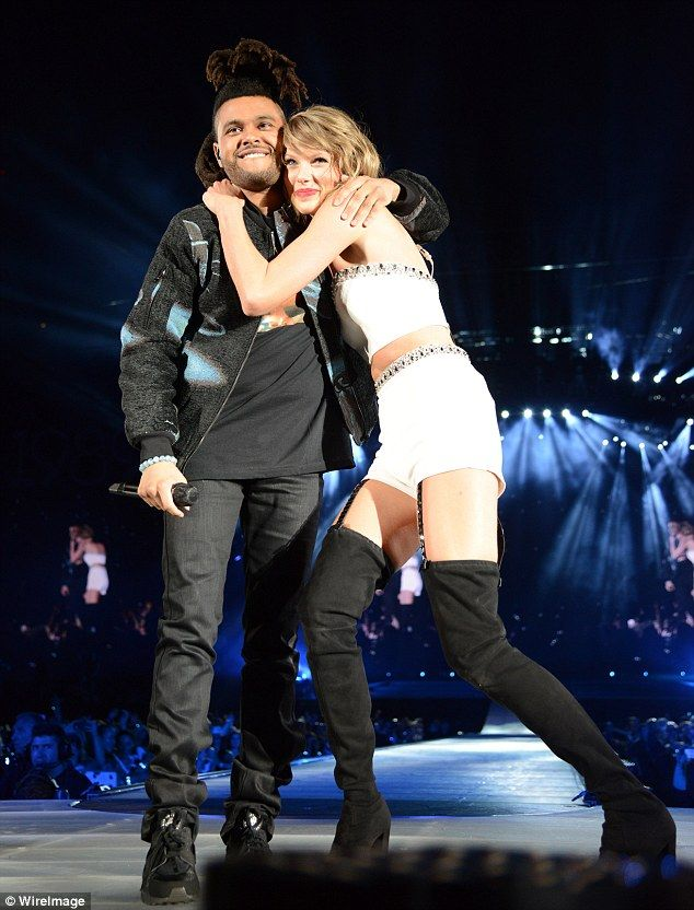 Getting flirty: The Weeknd revealed in Rolling Stone magazine that Taylor Swift pet his hair while 'she must have been a little gone off a few drinks,' as the two were pictured together in New Jersey back in July