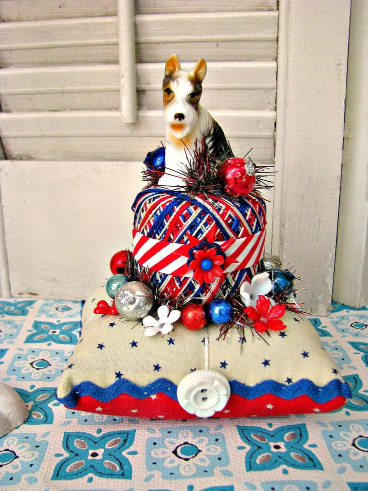 So cute ~ Vintage Fox Terrier Pin Cushion Patriotic Holiday Decoration. $28.00, via Etsy.