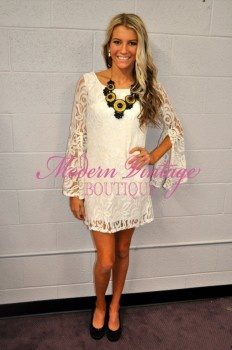 Lace Belle Sleeve Ivory Dress