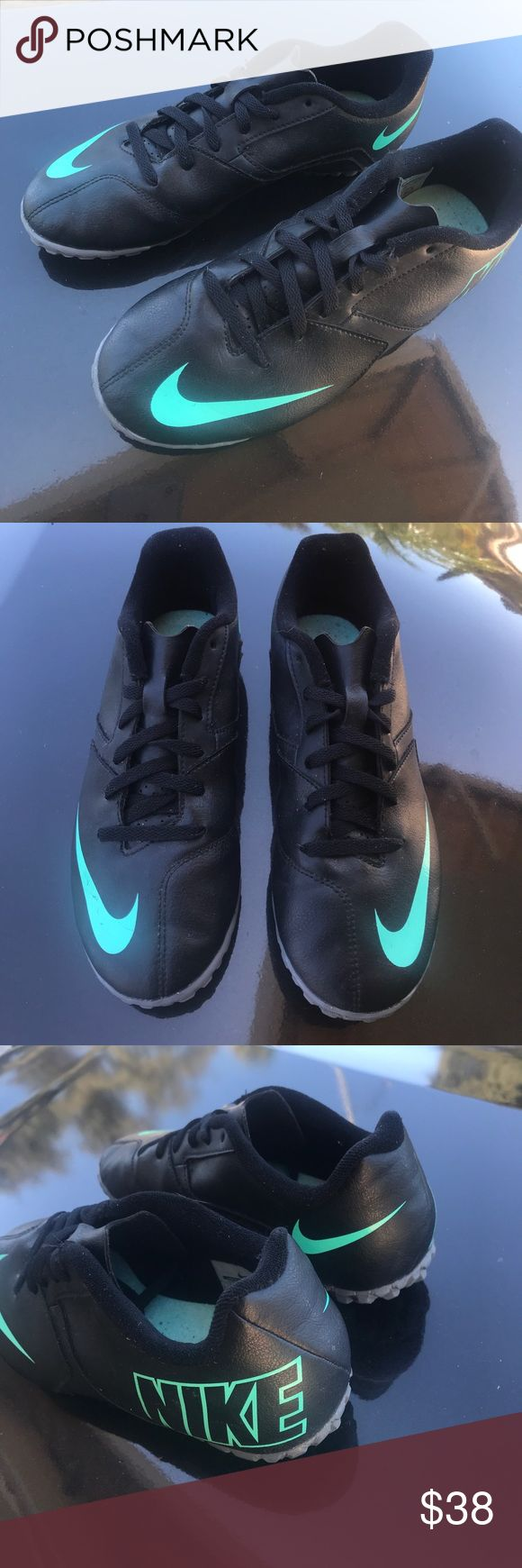 Nike Soccer Turf Shoes Like new Nike soccer turf shoes. Black leather with teal Nike detailing. Very comfortable and still in great condition! Nike Shoes Sneakers