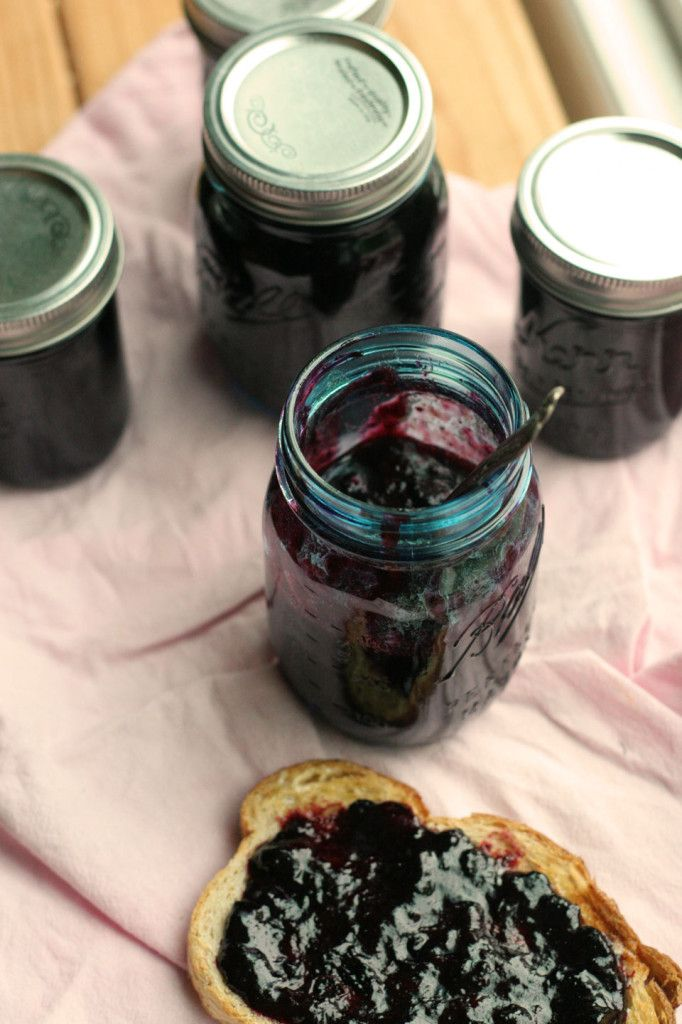 Blueberry Jam in all of its simple glory. Small batch, easy to make, perfect for toast and yogurt.  notjustbaked.com