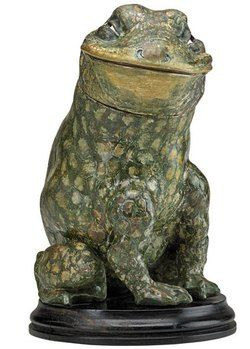 Stoneware; Martin Brothers, Tobacco Jar & Cover, Frog-Form, 11 inch.