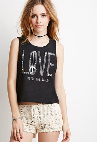 Distressed Love Graphic Crop Top | Forever 21 - 2000052948