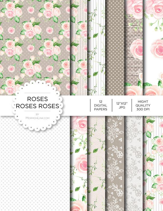 """Digital Paper - Roses Roses Roses - Instant Download - Digital Artwork by mormonlinkshop  5.00 USD  Digital paper is a bit of a misnomer as no paper is involved! You can use these JPEG versions of 12""""x12"""" papers to create backgrounds photo mattes die-cuts etc. just as you would have used a traditional piece of paper. Of course you're able to use these over and over again no longer will you worry about making the """"wrong cut"""" and wasting your supply. Great for all ages classes activities etc…"""