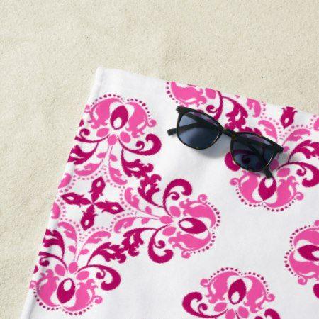 Girly pink maroon damask pattern beach towel - #beach #towel #beachtowel #damask #pink #pretty #maroon #elegant #stylish