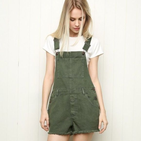 Brandy Melville Overalls army green overall shorts, NEVER WORN, the bottom is not frayed like the picture and it is not as dark (see other picture) Brandy Melville Other