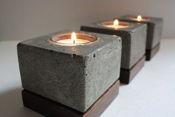 Square Concrete Tea Light Holders (Set of 3). $62.00, via Etsy.