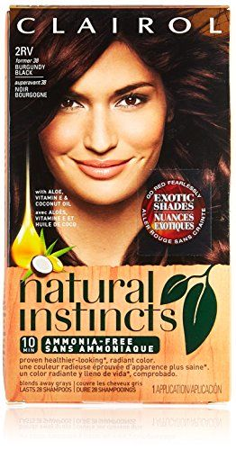Clairol Natural Instincts, 2RV / 38 Blackberry Burgundy Black, Semi-Permanent Hair Color, 1 Kit:   You don't have to be tied down to just one look. With Clairol Natural Instincts, you can get commitment-free, semi-permanent hair color (lasts 28 washes). Made with coconut oil, aloe, and vitamins, Clairol Natural Instincts is clinically proven less damaging* than other hair dyes. So next time you color, try Clairol Natural Instincts hair color.           *Natural Instincts non-permanent ...