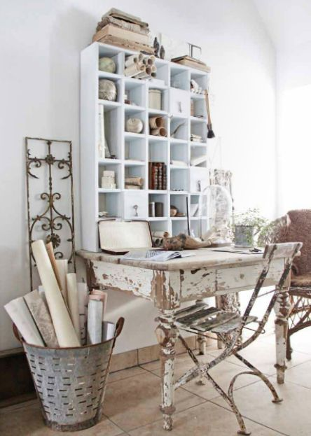 shabby chic office creative ideas for your renovation. Black Bedroom Furniture Sets. Home Design Ideas