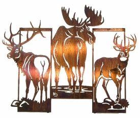 """24"""" Moose, Elk and Deer Trio Metal Wall Art by Kathryn Darling"""