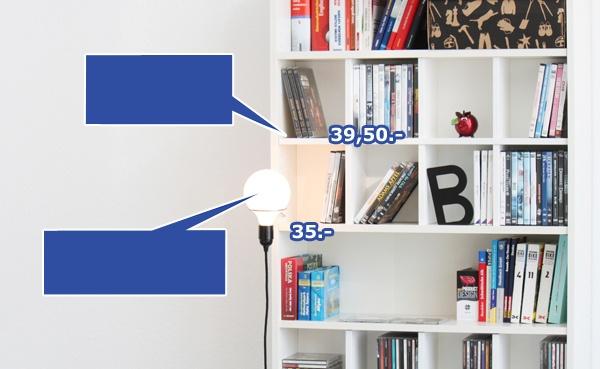 additional products for IKEA - new swedish design online shop Billy Regaleinsatz und Schwedenlicht Regal Lampe