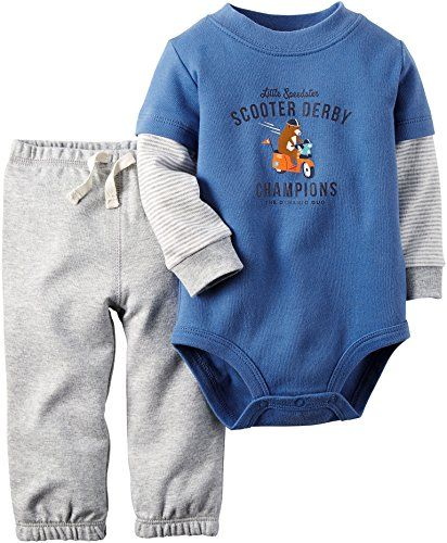 Carters Baby Boys Scooter Derby Bodysuit Set 6 Month Bluegrey *** Click on the image for additional details.