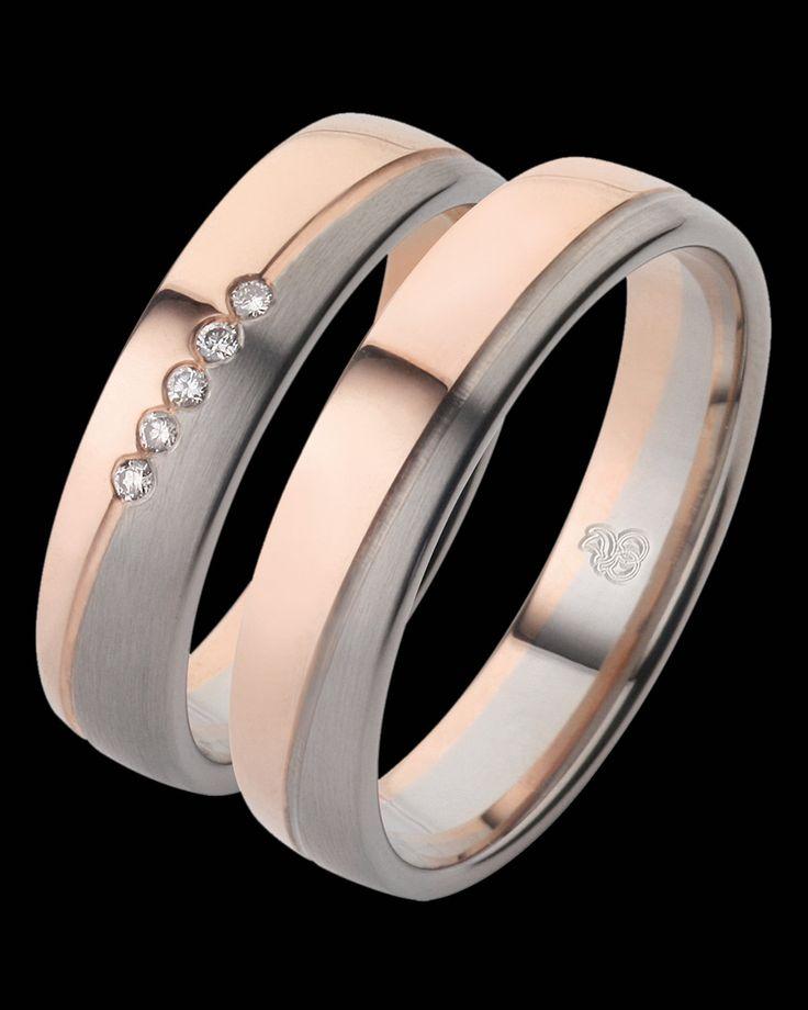 Βέρες Elements Palladium Rotgold δίχρωμες ροζ χρυσός Κ8-παλλάδιο με Διαμάντια