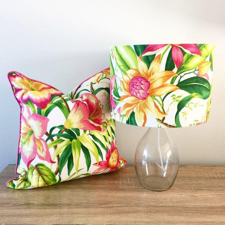 Tropical Lamp and Cushion in Sanctuary fabric by islandinspiredhome on Etsy