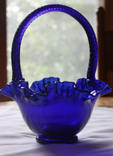 *FENTON ART GLASS ~ Cobalt Blue Antique Glass Basket