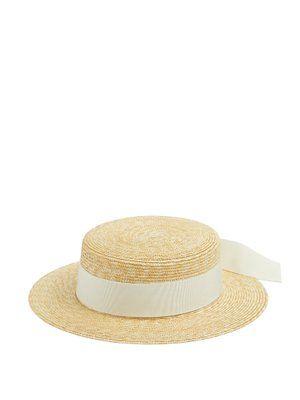 Faille-ribbon straw hat | Federica Moretti | MATCHESFASHION.COM US