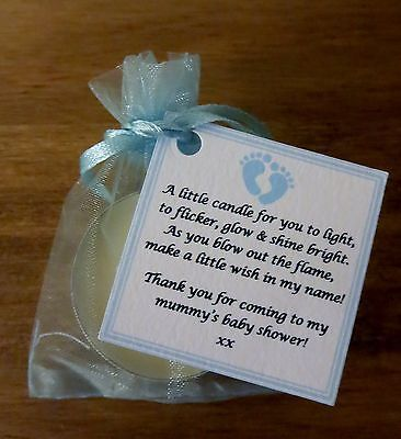 NEW BABY SHOWER FAVOURS VANILLA CANDLE -Can be personalised ** Thank you gifts