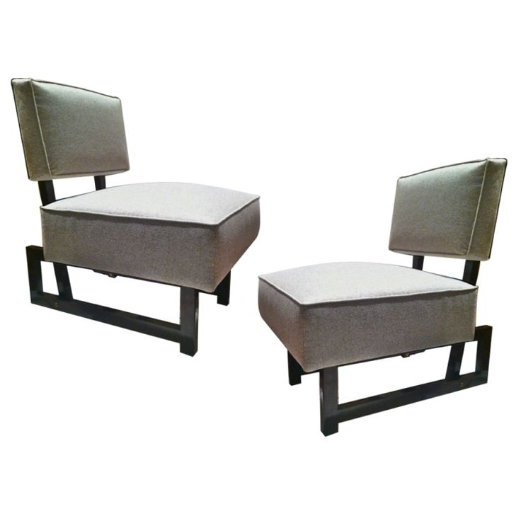André Sornay, Modernist Pair of Chairs, Armless, Newly Covered in Neutral Beige