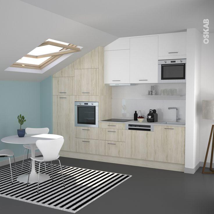 trendy petite cuisine style nordique dcor bois chne clair et blanche en ligne en with cuisine. Black Bedroom Furniture Sets. Home Design Ideas