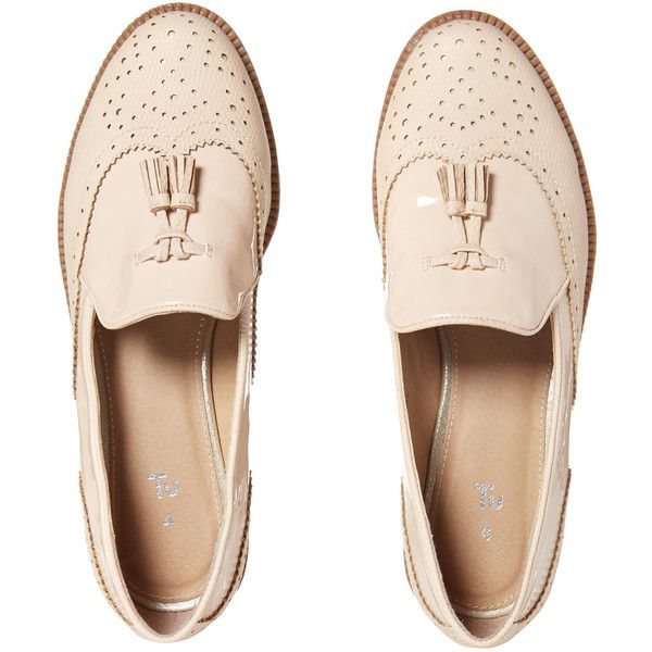 Nude Slipper Cut Brogues ($23) ❤ liked on Polyvore featuring shoes, block heel shoes, almond toe shoes, balmoral shoes, nude block heel shoes and brogue shoes