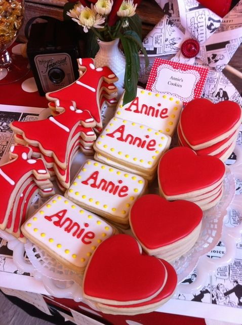 Orphan Annie Cast Party cookies!  See more party ideas at CatchMyParty.com!