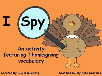 I Spy Thanksgiving Vocabulary Activity! Repinned by SOS Inc. Resources pinterest.com/sostherapy/.