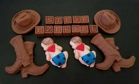 Fondente bambino gemelli cowboy personalizzato decorazioni per
