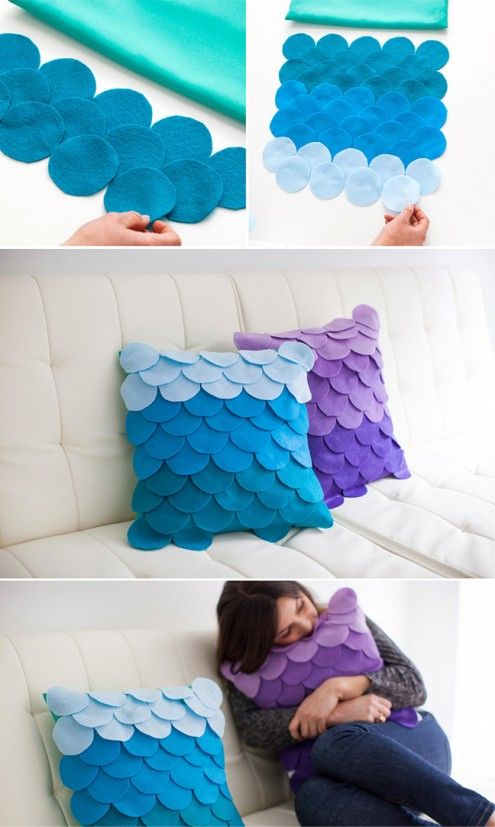 Excelente idea Imagen encontrada en Pinterest Coloridos cojines con escamas de fieltro