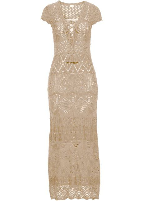 Bonprix maxi gebreide jurk, BODYFLIRT boutique ecru beige maxi dress  knitted crochet