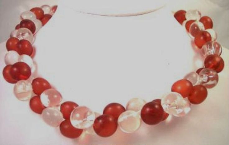 Vintage Lucite Red and Clear Bubble Necklace #Unbranded #Cluster