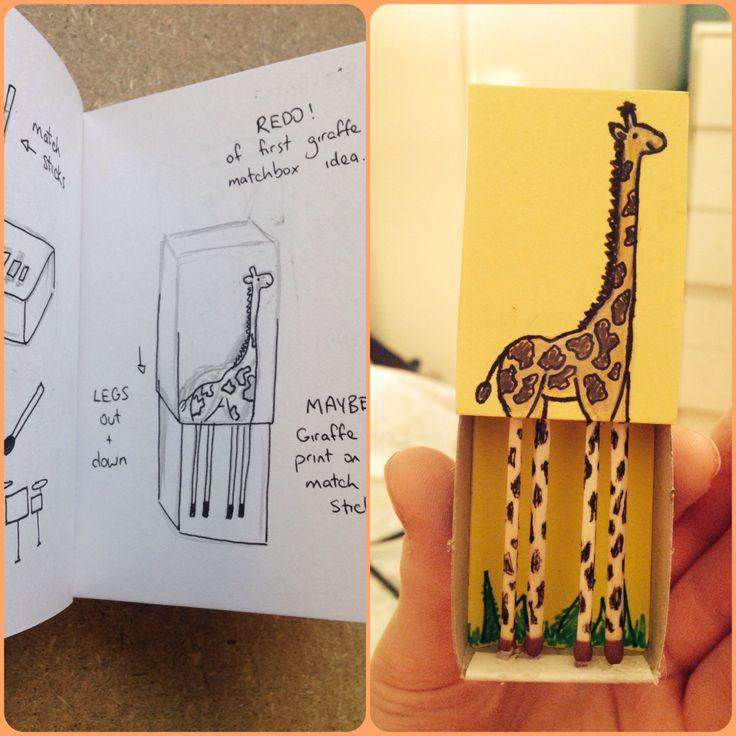 Draft (giraffed) of Giraffe Matchbox - plan and outcome