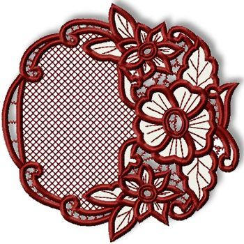 Advanced Embroidery Designs - Cutwork Lace Flower Wreath