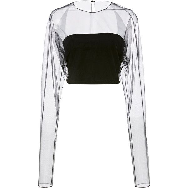 Romey Sheer Sleeve Top | Moda Operandi ($645) ❤ liked on Polyvore featuring tops, see through tops, long sleeve tops, white crop tops, crop tops and white top