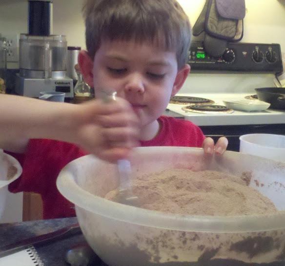 Preparing the Eggless EVOO Chocolate Cake