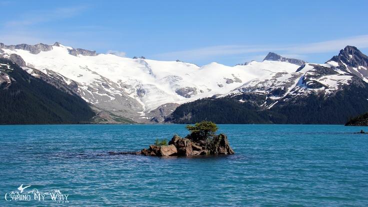 Tiny Island and Sphinx Glacier, Garibaldi Lake on a Summer Day.